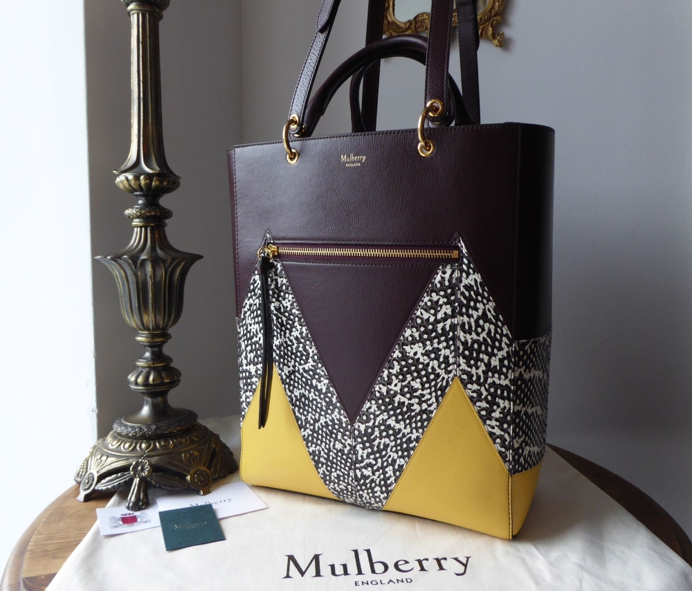 Mulberry Large Maple 'M' in Snakeskin, Oxblood and Sunflower Smooth Calf -