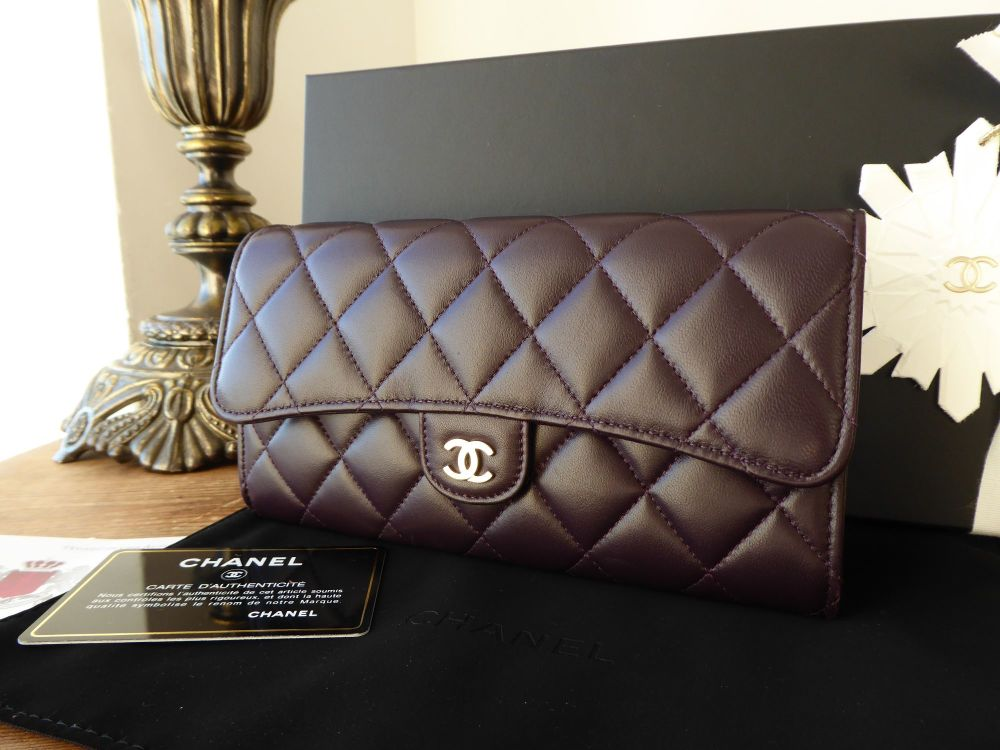 Chanel Classic Flap Quilted Continental Wallet in Dark Purple Lambskin with