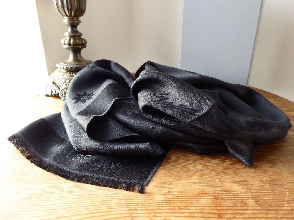Mulberry Monogram Star Jacquard Scarf in Black Silk & Wool - SOLD