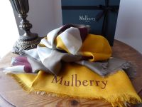Mulberry 'M' Print Silk Blend Square Scarf in Sunflower & Oxblood - As New