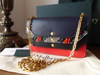 Mulberry Multiflap Shoulder Clutch in Midnight, Multi Snakeskin, Fiery Red and Black Smooth Calf Leather - New*