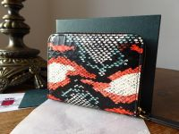 Mulberry Small Zip Around Coin Card Purse in Multicolour Snakeskin - New