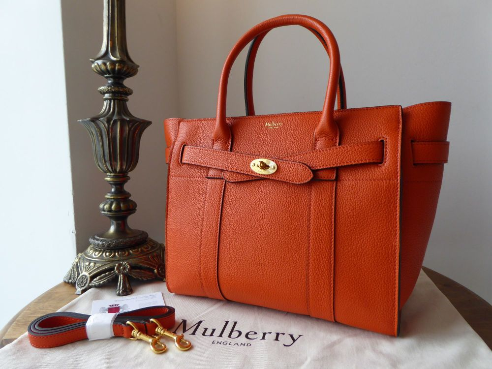Mulberry Small Zipped Bayswater in Bright Orange Small Classic Grain  - New
