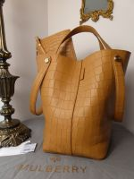 Mulberry Larger Sized Kite Tote in Camel Deep Embossed Croc Print Leather - As New*