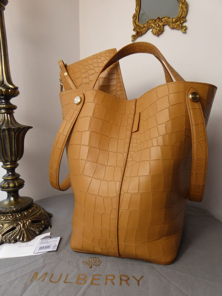 Mulberry Larger Sized Kite Tote in Camel Deep Embossed Croc Print Leather -