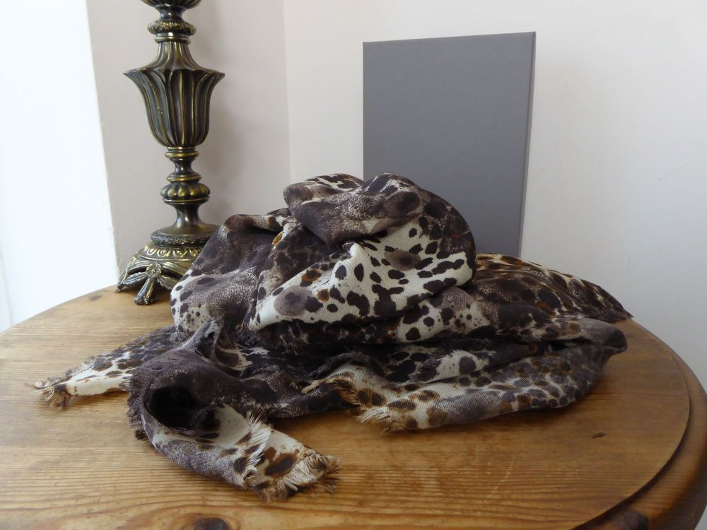 Mulberry Leopard Print Wrap Square Scarf in 100% Wool - As New