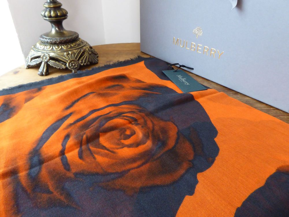 Mulberry Printed Rose Floating Rose Wrap Scarf in Orange & Black Silk Blend