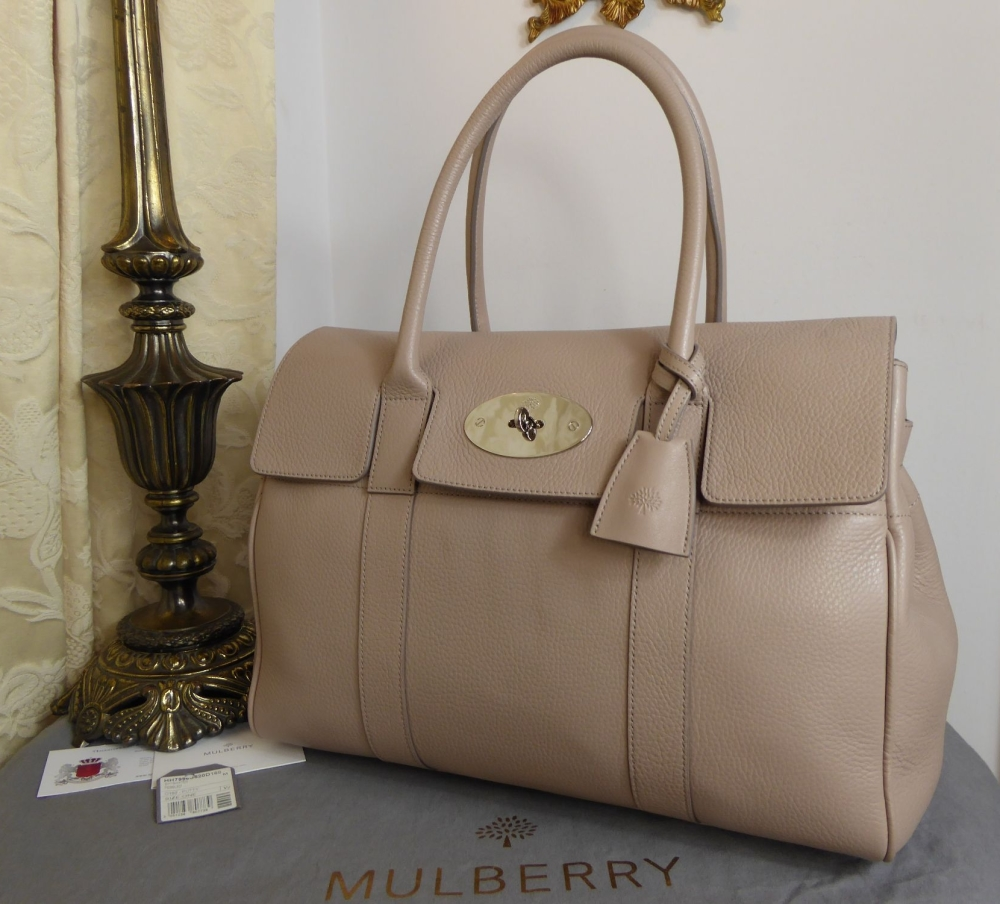 Mulberry Classic Heritage Bayswater in Putty Pebbled Leather with Shiny Sil