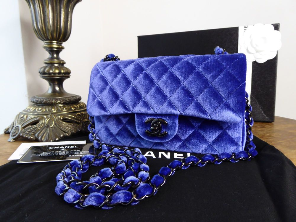 Chanel Mini Rectangular Flap in Cobalt Blue Velvet with Shiny Black Silver