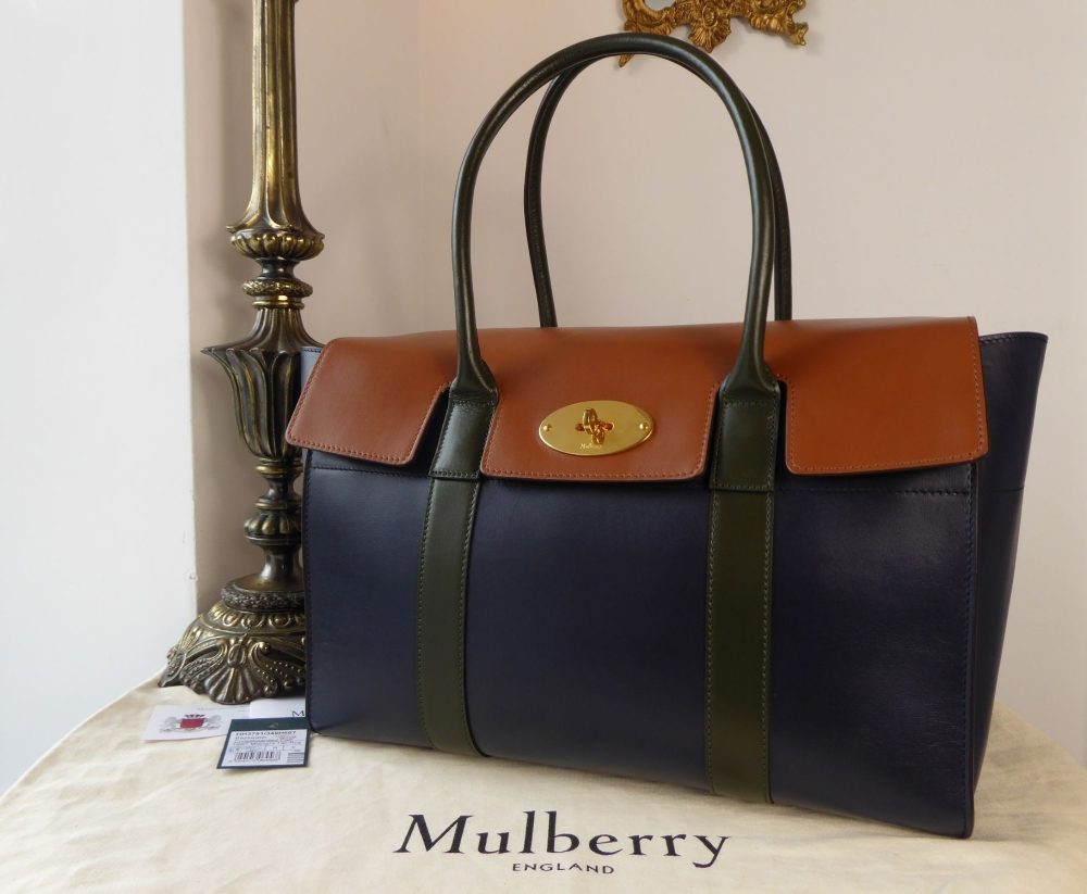 Mulberry Large Bayswater in Midnight, Tan and Racing Green Crossboarded Cal