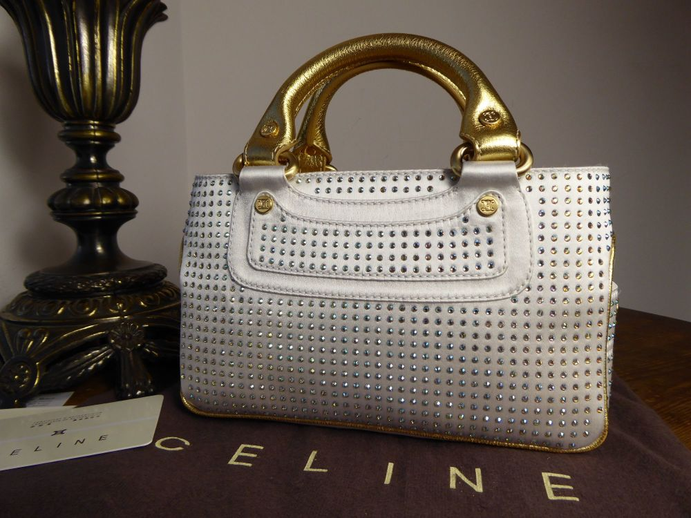 Celine Mini Boogie in Crystal Encrusted Optic White Silk with Metallic Gold