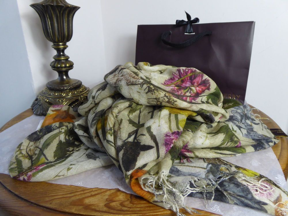 Mulberry Woodland Large Scarf Wrap in Silk Cashmere Blend