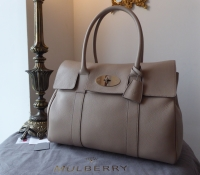 Mulberry Classic Heritage Bayswater in Putty Pebbled Leather with Shiny Silver Nickel Hardware - New