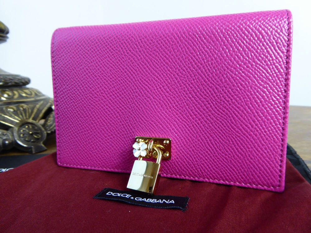 Dolce & Gabbana Dauphine Card Case in Rosa Shocking & Nero Saffiano Leather