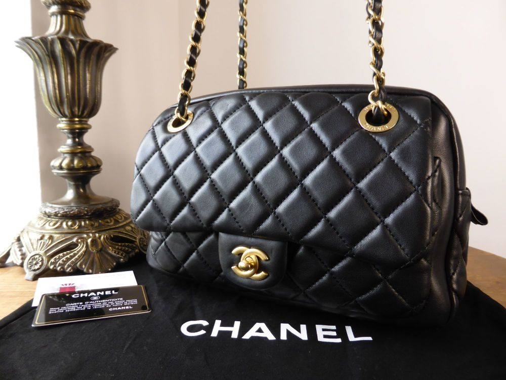 Chanel Camera Flap Bag in Black Lambskin with Aged Gold Hardware
