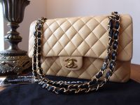 Chanel Classic 2.55 Medium Double Flap in Bicolor Beige & Black Lambskin with Gold Hardware