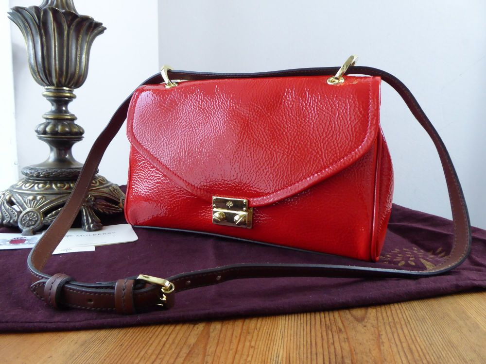 Mulberry Neely Small Shoulder Bag in Tomato Red Spongy Patent Leather