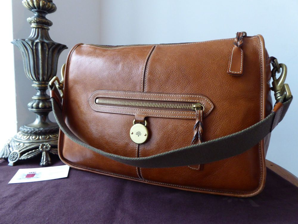 Mulberry Somerset Dispatch Satchel in Oak Tumbled Grain Leather