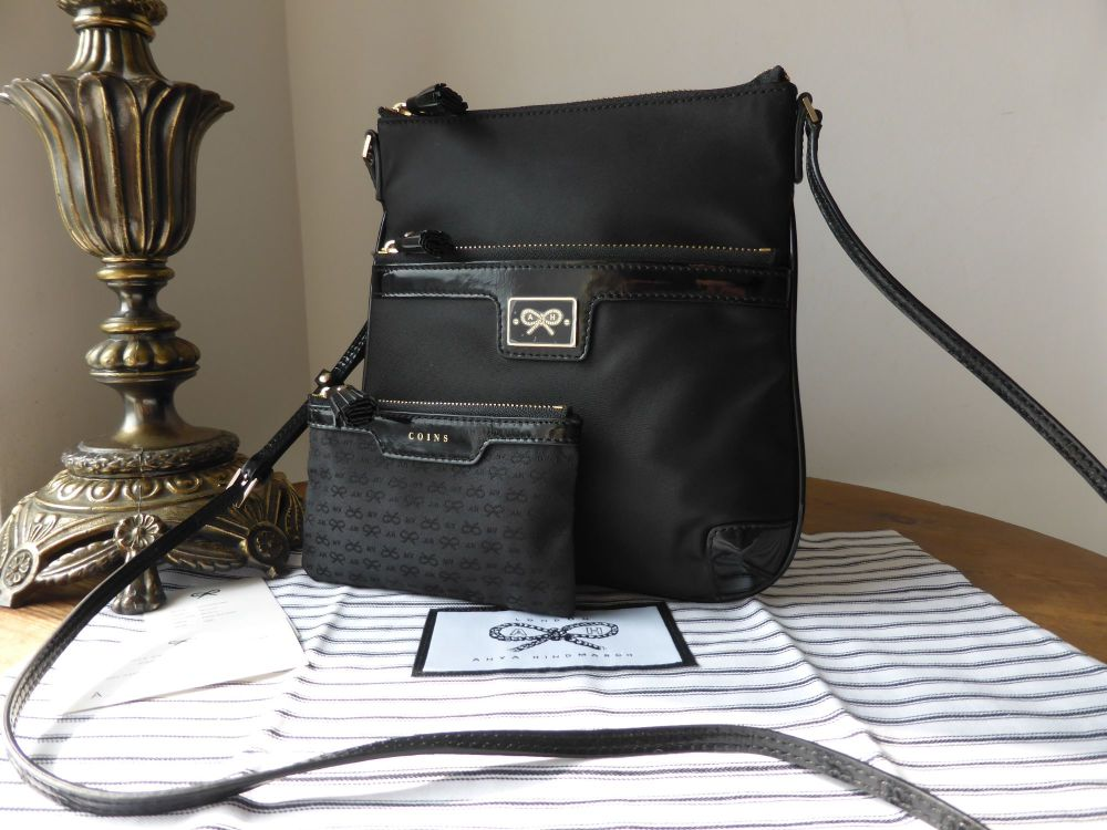 Anya Hindmarch Handsfree Messenger in Black Nylon and Patent - New