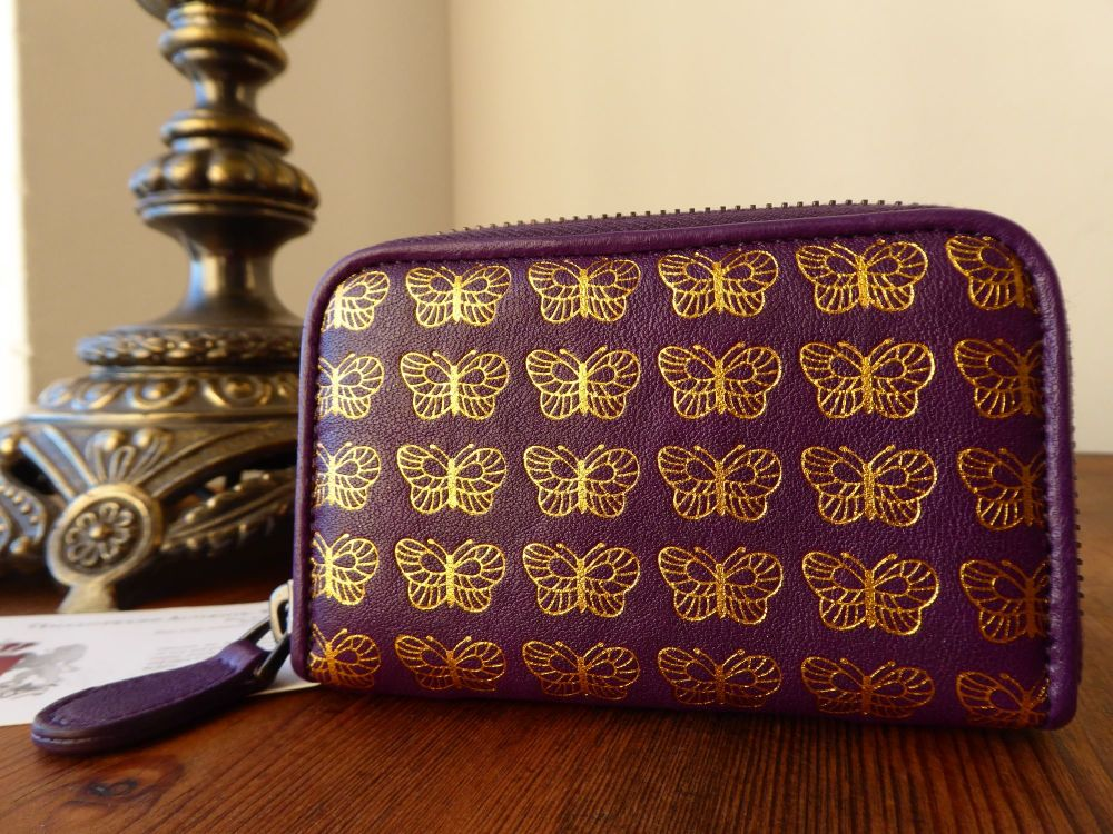 Bottega Veneta Small Zippy Coin Card Purse in Amethyst Purple with Gold Pri