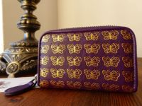 Bottega Veneta Small Zippy Coin Card Purse in Amethyst Purple with Gold Printed Butterflies - As New