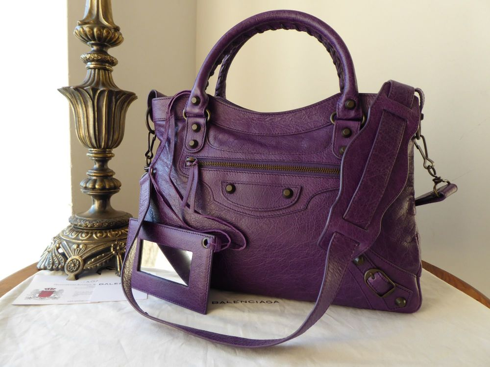 Balenciaga Classic Town in Dark Violet Lambskin