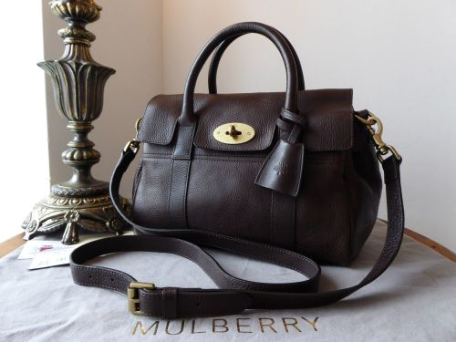 fe2a1cd3f4 Mulberry Classic Heritage Small Bayswater Satchel in Chocolate Natural Leat