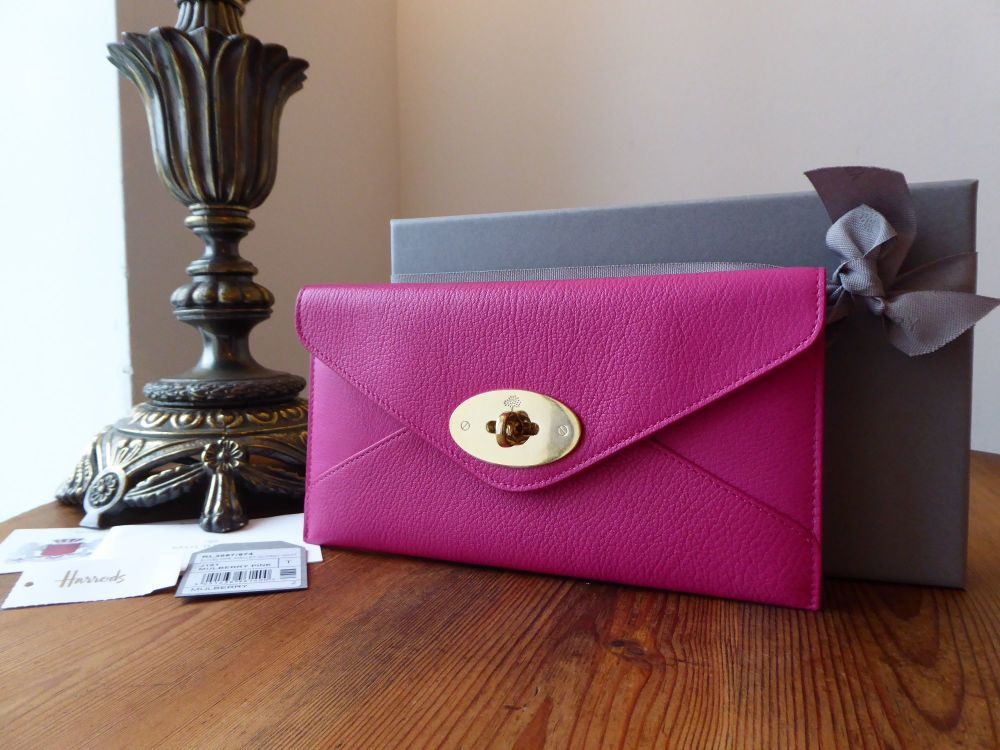 Mulberry Envelope Continental Purse Wallet in Mulberry Pink Glossy Goat - N