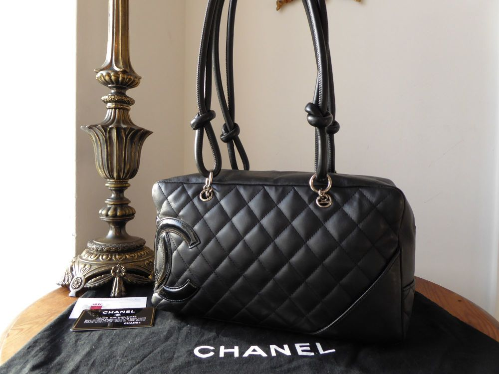 Chanel Cambon Ligne Quilted Bowler in Black Calfskin