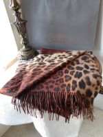 Mulberry Large Fringed Scarf in Reversible Flame Leopard & Tiger Print Wool & Cashmere Blend - New