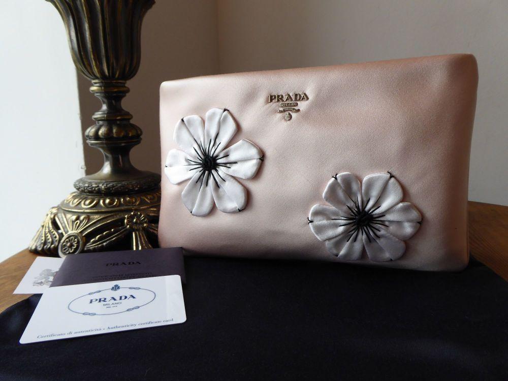 Prada Raso Floral Clutch Zip Pochette in Orchidea Silk Satin - New*