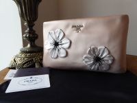 Prada Raso Floral Clutch Zip Pochette in Orchidea Silk Satin - New*