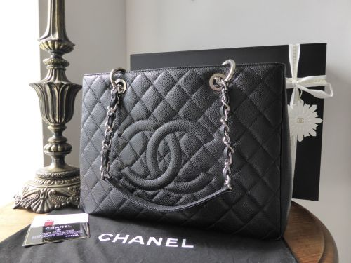 8284d4524dac Chanel Grand Shopping Tote in Black Caviar with Silver Hardware ...