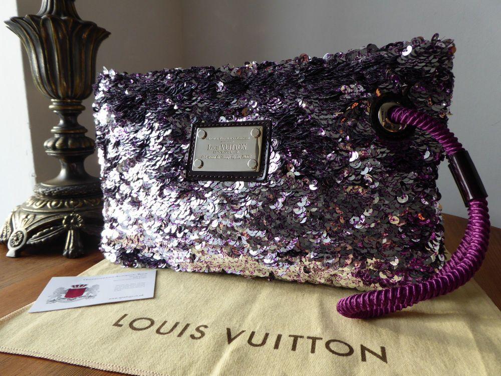 Louis Vuitton Rococo Silver & Purple Sequin Large Wristlet Pochette