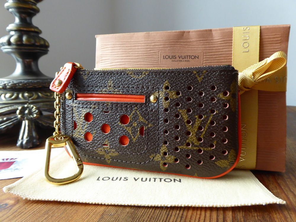 Louis Vuitton Limited Edition Perforated Key Cles Pouch Monogram Orange