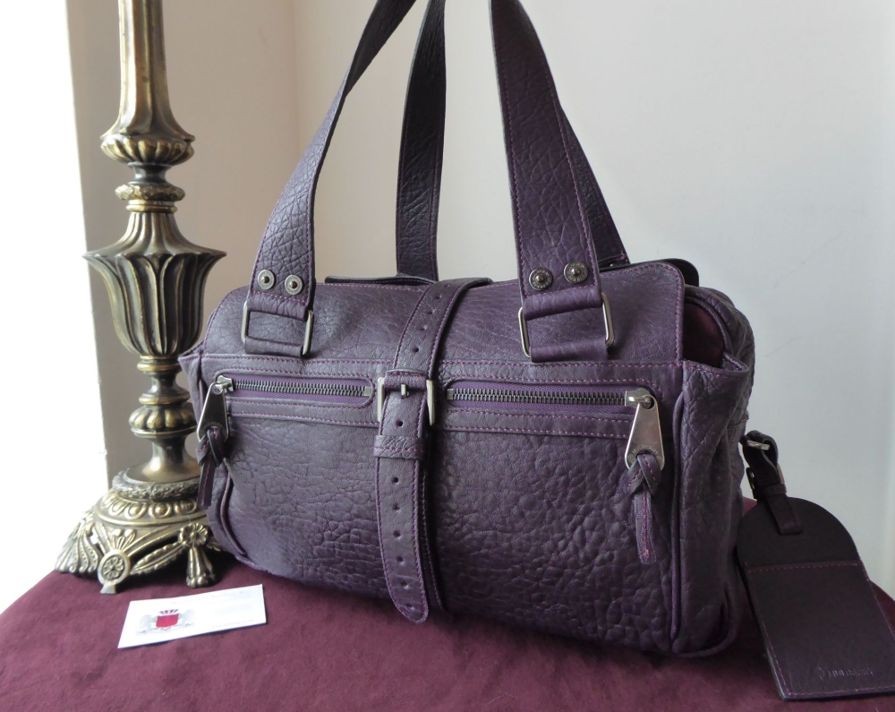 Mulberry Medium Mabel in Purple Tumbled Sheeps Leather