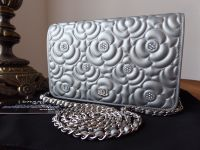 Chanel Diamante Crystal Camellia Quilted Wallet on Chain in Silver Metallic Calfskin - As New*