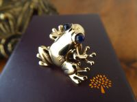 Mulberry Frog Pin Brooch in Shiny Pale Gold - New