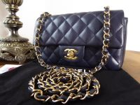 Chanel Mini Rectangular Classic Flap in Navy Lambskin with Gold Hardware
