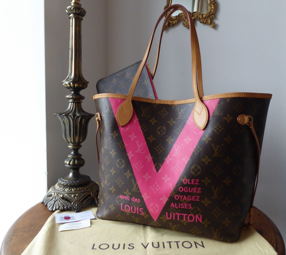 Louis Vuitton Limited Edition V Neverfull MM in Monogram Grenade Pink & Fel