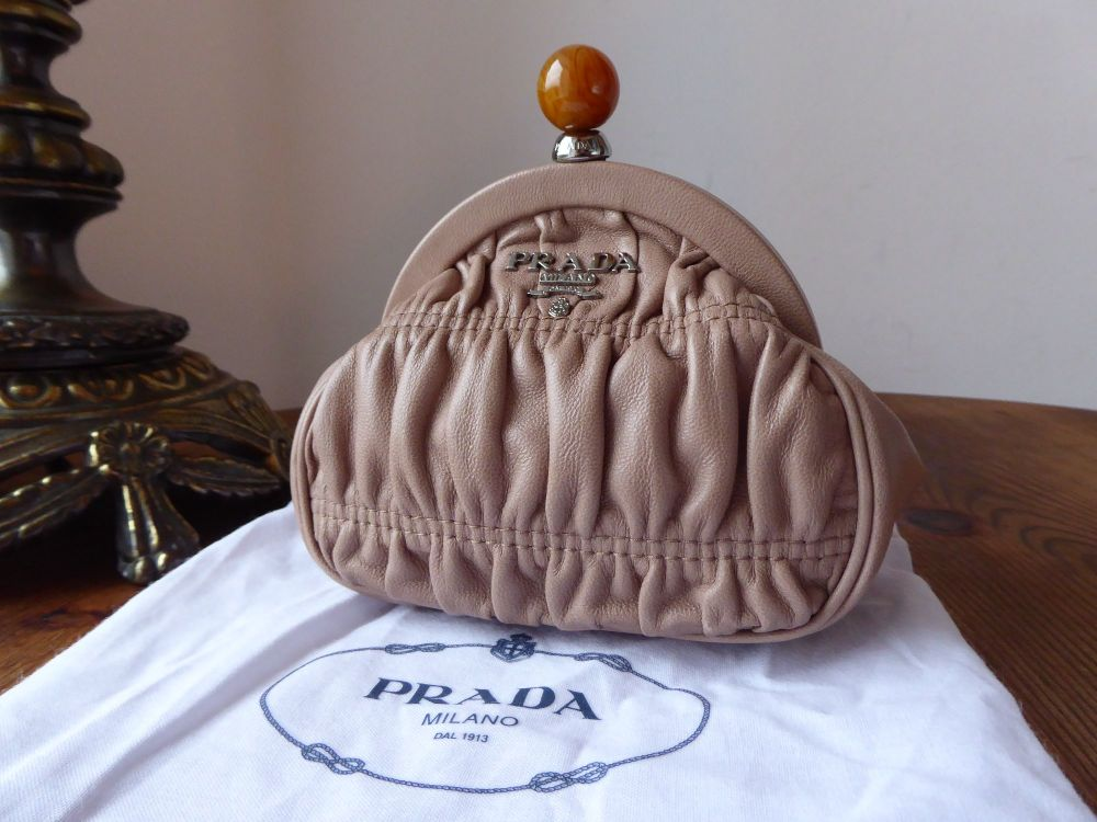 Prada Mini Framed Clutch Purse in Cammeo Lambskin Gaufre - As New