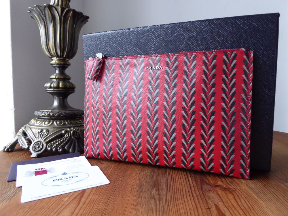 Prada Slim Zip Pouch Clutch in Printed Rosso Saffiano - New