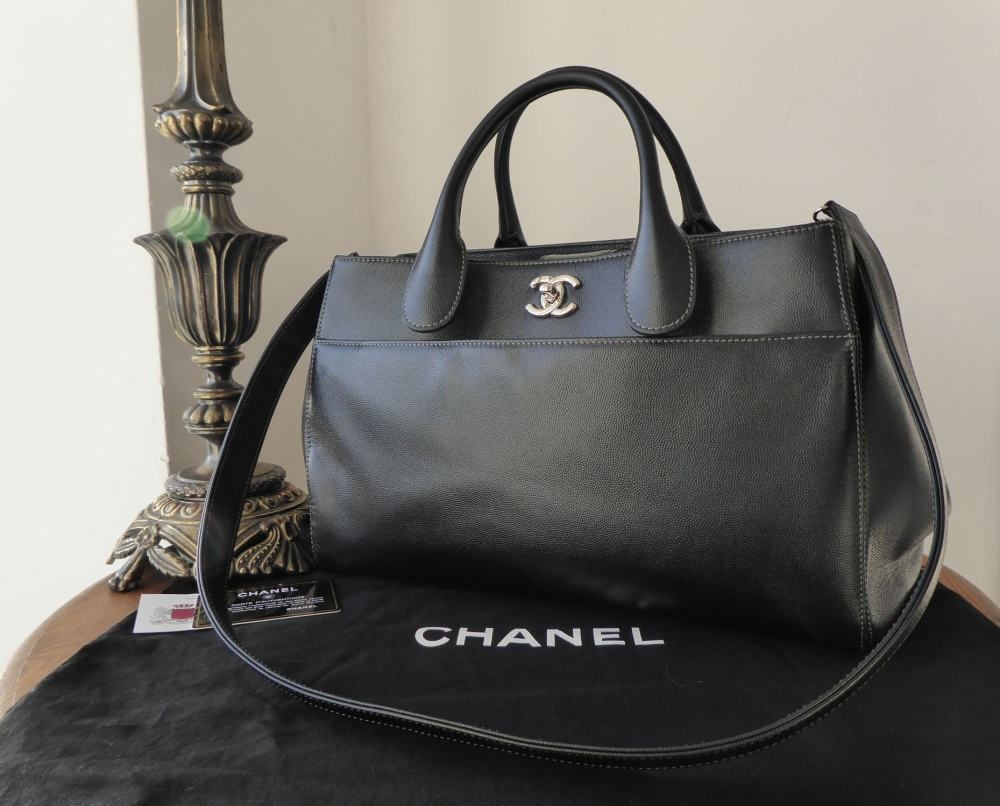 Chanel Smaller Sized Executive Tote in Black Grained Calfskin with Shiny Si