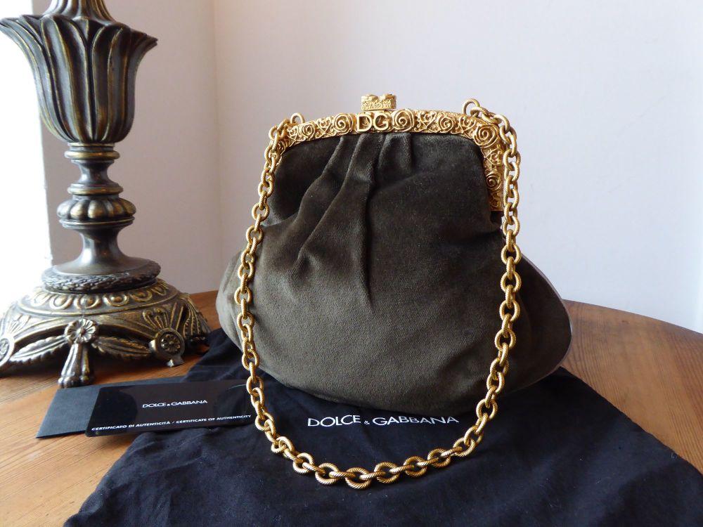 Dolce & Gabbana Gilt Framed Evening Pouch Bag in Olive Velvet