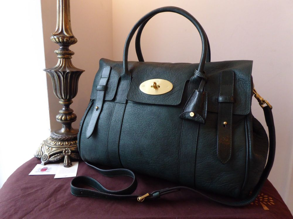 Mulberry Heritage Bayswater in Pheasant Green Soft Matte High Pebbled Paten