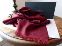 Mulberry Rectangular Scarf in Dark Red Monogram Check Silk Wool Mix - New