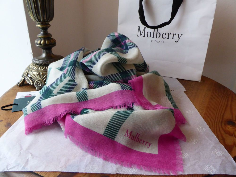 Mulberry Tartan Square Scarf Wrap in Mulberry Pink, Racing Green, Navy and