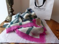 Mulberry Tartan Square Scarf Wrap in Mulberry Pink, Racing Green, Navy and Cream Ultra Fine Wool