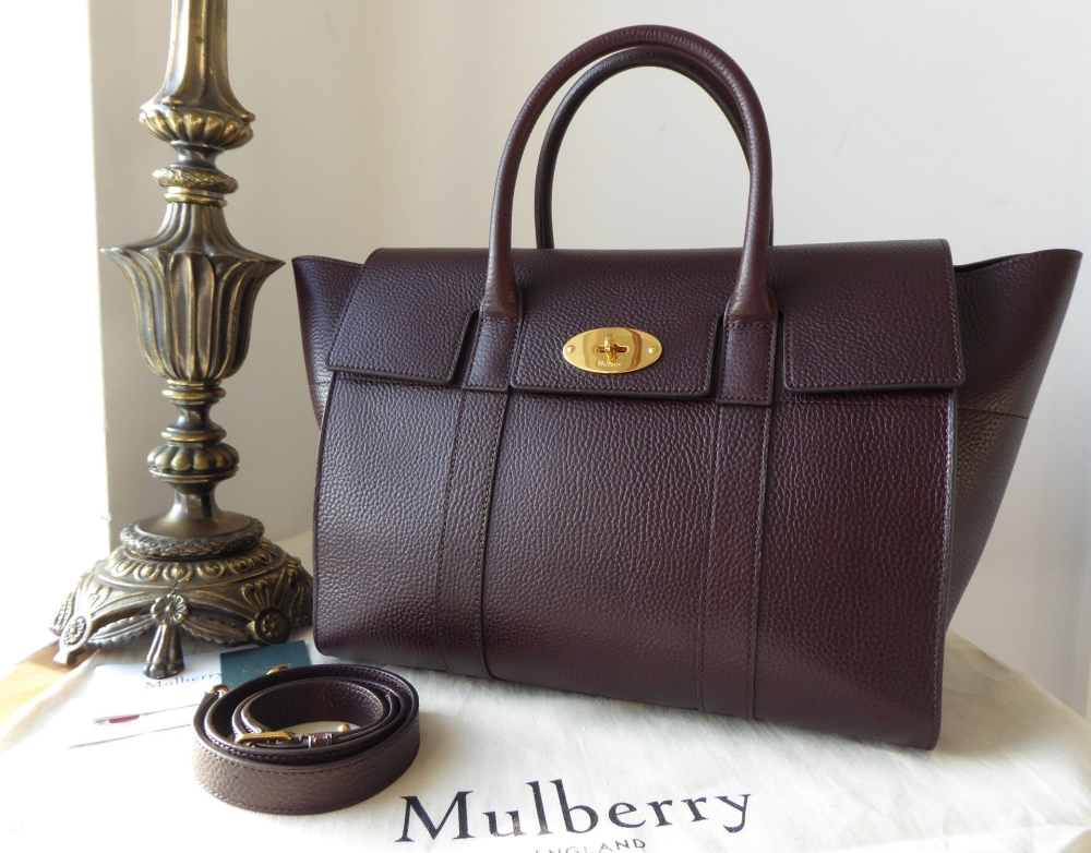 Mulberry Small Bayswater in Oxblood Grained Vegetable Tanned Leather - As N