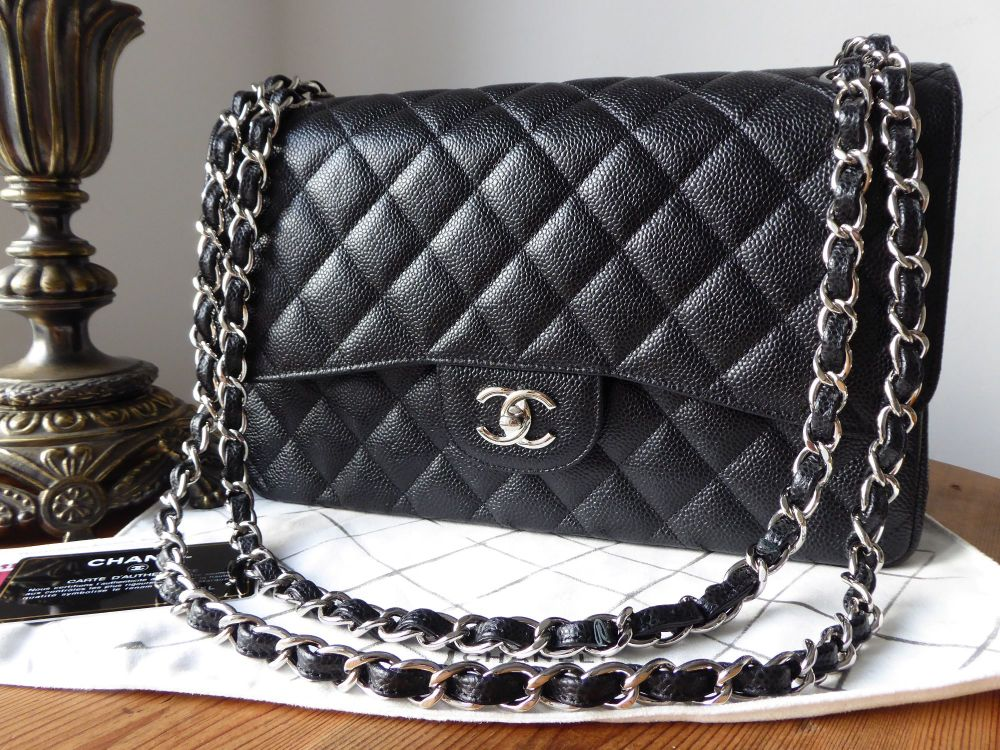 Chanel Classic Jumbo Double Flap in Black Cavier with Shiny Silver Hardware